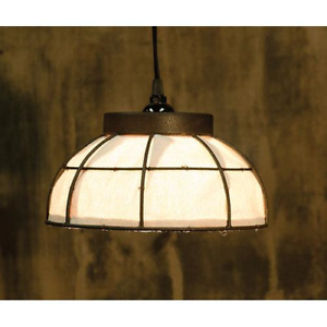 Primitive Farmhouse Country Metal With Canvas Pendant Light Lamp