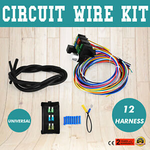 Universal 12 Circuit Wire Harness Muscle Classic Cars Fuse Bumper Wire Kit