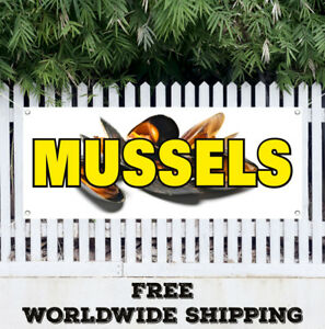 Banner Vinyl Mussels Advertising Sign Flag Spanish Seafood Clam Shrimp Food