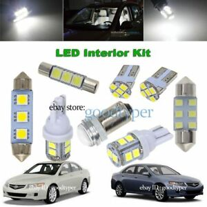 10x White Led Map Dome Light Interior Bulb Package Kit Fit 2004 2008 Acura Tsx