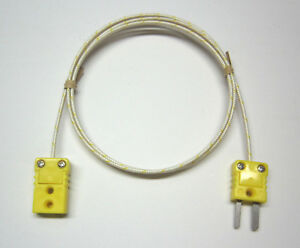 K type Thermocouple Extension Cable Wire Braided Fiberglass Mini Connectors Ft