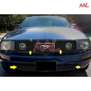 Aal 05 09 Ford Mustang V6 Head Light pony Cutout Black Billet Grille Insert