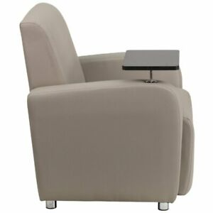 Flash Furniture Leather Guest Chair With Cup Holder In Gray