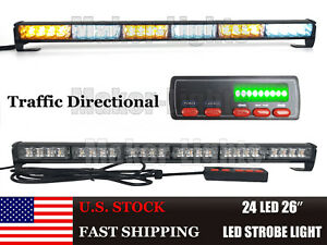 26 Led 24w Flash Traffic Advisor Directional Warn Strobe Light Bar Amber