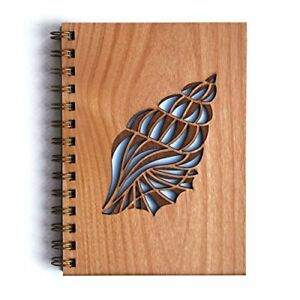 Girls Conch Shell Journal Sketch Book Wooden Diary Personal Notebook Laser Gift