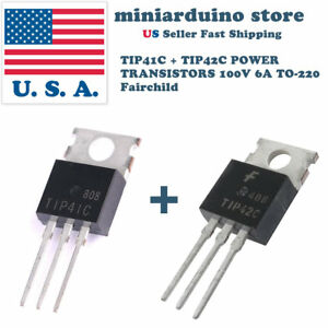 10 Pcs 5 X Tip41c And 5 X Tip42c Power Transistor 100v 6a To 220 Fairchild