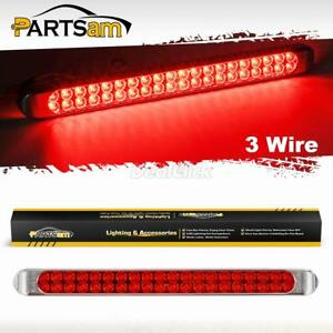 17 High Power 40led Red Trailer Truck Rv Stop Tail Rear Brake Turn Id Light Bar