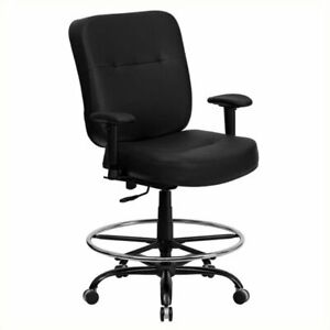 Scranton Co Leather Drafting Chair With Arms In Black