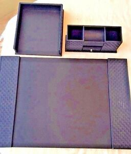 Desk Accessory Set 3 piece Black Leather Look Woven Weave Lc Cl Organizer Df