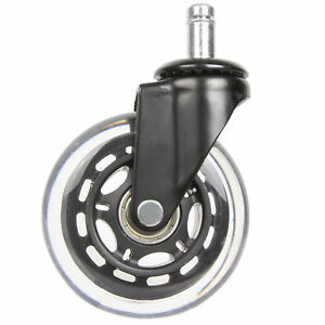 5 X Office Chair Caster Rubber Swivel Wheels Replacement Style Heavy Duty