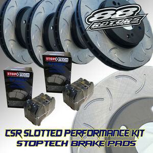 Front Rear Slotted Only Csr 88rotors Brake Rotors Stoptech Pads Evo 8 9