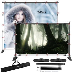 2x 8 x8 Telescopic Backdrop Stand Adjustable Banner Display Trade Show Wall J2