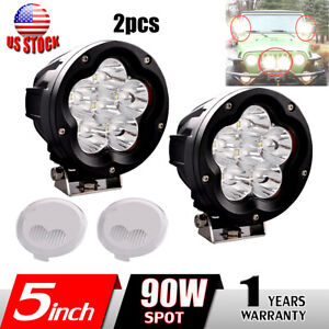 2x 5 Inch 90w Round Led Work Light Spot Driving Fog Lamp Offroad Combo Cover