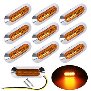 10x Amber 4 Led Clearance Side Marker Lights For Car Truck Trailer Pickup 12 24v