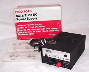 Vintage Eico 1040 Solid State 117 Vac To 12 Volt Dc 4 Amp Power Supply in Box