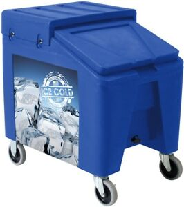 New 140 Lb Blue Commercial Mobile Portable Ice Bin Cart Caddy Beverage Catering