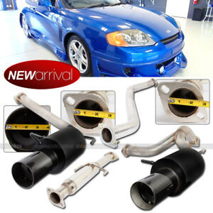 For 02 06 Tiburon 4 Carbon Tip Black Finish Muffler Catback Dual Exhaust System