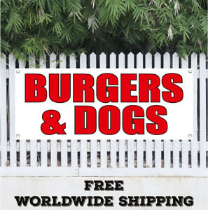 Burgers Dogs Advertising Vinyl Banner Flag Sign Hot Dogs Chili Fast Food Best