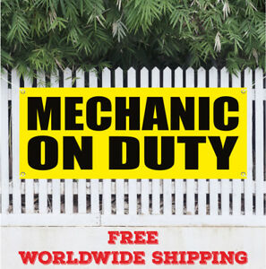 Mechanic On Duty Advertising Vinyl Banner Flag Sign Repair Shop Automotive Tools