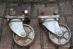 Set Of Casters Extra Large Vintage Industrial Trolley Wheels Steampunk Metal