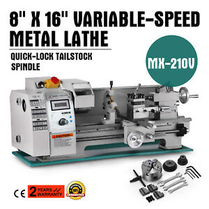 8 X 16variable speed Mini Metal Lathe Digital Rpm Tooling 750w