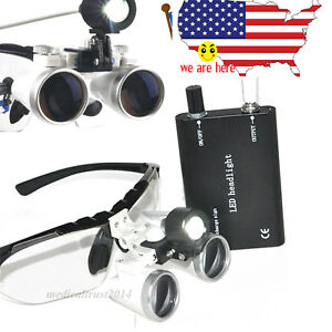 Us Stock Dental Surgical Binocular Loupes Glasses 2 5x 420mm led Head Light Set
