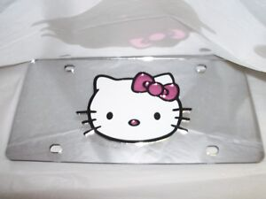Hello Kitty License Plate Silver white pink black New