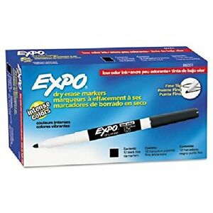 Expo Low Odor Dry Erase Markers Fine Point Black 86001 Case Of 144 Markers