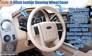 2008 2009 Ford F250 F350 F450 F550 Lariat leather Wrap Steering Wheel Cover Tan