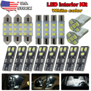 14x White Led Lights Interior Package Kit Map Dome Bulb For 2009 2014 Acura Tsx