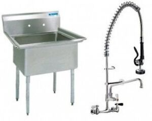 Stainless Steel 1 Compartment Sink 24 X 24 No Drainboard With Pre rinse Faucet