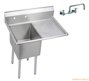 Stainless Steel 1 Compartment Sink 24 X 24 With Right Drainboard