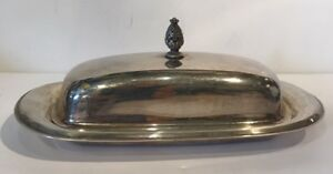 Wm Rogers Silverplate Covered Butter Dish Pineapple Shaped Finial Top No Liner