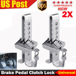 2x Brake Pedal Lock Security Car Stainless Steel Clutch Lock Anti Theft Device