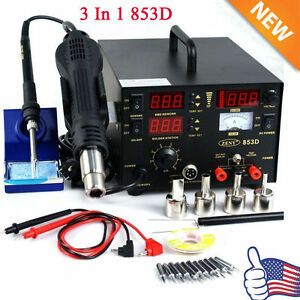 3in1 853d Smd Dc Power Supply Hot Air Iron Gun Rework Soldering Station Welder Q