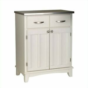 Home Styles Buffet Server With Stainless Steel Top Wood In White