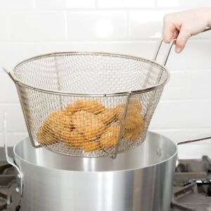 Commercial 11 5 In Round Fry Basket Wire Mesh Handle Fried Food Fish Fries 4 Ct