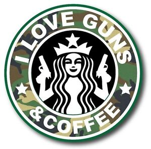 I Love Guns And Coffee Camo Funny Car Bumper Vinyl Sticker Decal 3 5