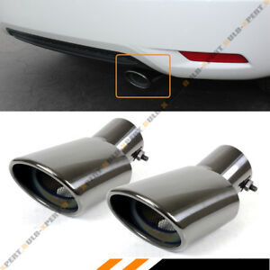 For 2016 18 Honda Civic Dual Black Chrome Muffler Exhaust Pipe Tip Finishers X 2