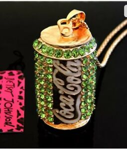 Betsey Johnson Necklace COCA COLA COKE CAN Green Gold Crystal Gift Box Bag