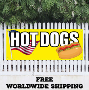 Hot Dog Advertising Vinyl Banner Flag Sign Chicago Wiener Franks Chili Red Food