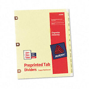 Avery Copper Reinforced Preprinted Dividers With Jan dec Tabs 24286 12 tab Set