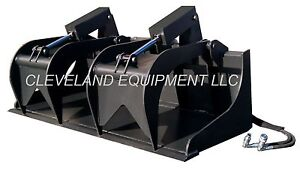 New 72 74 Industrial Grapple Bucket Skid Steer Loader Tractor Attachment Rake