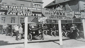 1924 T Ford Dealer S Used Car Lot 12 X 18 Black White Picture