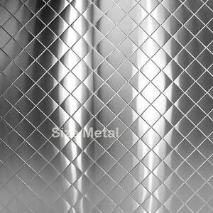 Chrome Quilted Diamond Stainless Steel Sheet 4 X 10