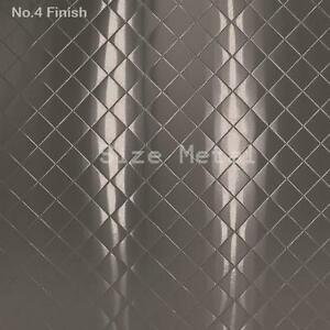 8 Pack 430 Brushed Quilted Diamond Stainless Steel Sheets 24ga 4 X 10