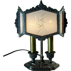 Silver Plated Desk Lamp With Six Panel Cased Glass Shade 1920 S Art Deco