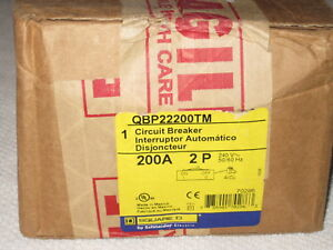 Square D Qbp22200tm 2 Pole 200 Amp 240v Circuit Breaker New In Sealed Box