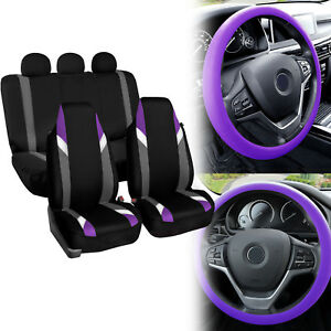 Supreme Modernistic Car Seat Covers Purple Black W Silicone Steering Wheel Cover