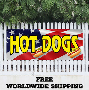 Banner Vinyl Hot Dog Advertising Sign Flag Chicago Wiener Franks Chili Red Food